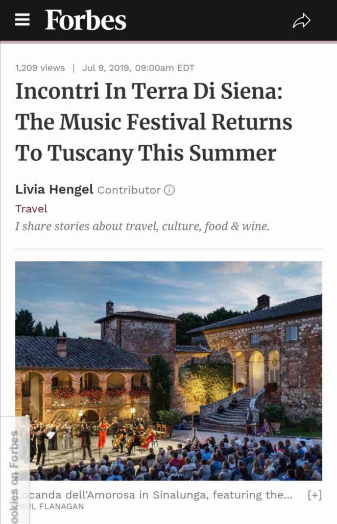 Incontri in Terra di Siena festival, Forbes